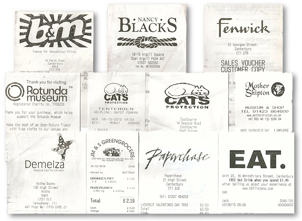 The Ephemera Society - Collecting on a shoestring: till receipts