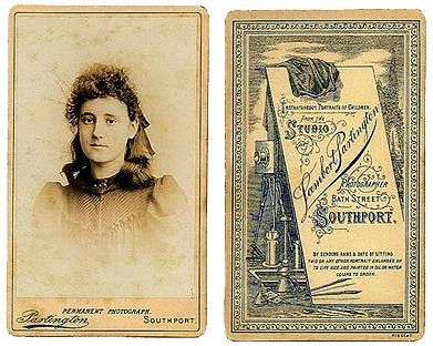 Carte-de-visite (front and back) of Lambert Partington, photographer,  Southport