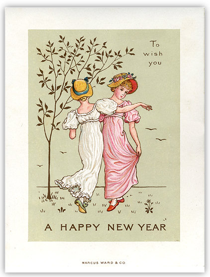 image of victorian new year card illustrated by kate greenaway
